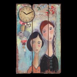 Dřevěná plaketa s hodinami Kelly Rae