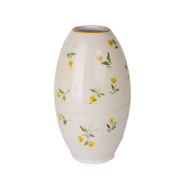 Žlutá kvítka váza hladká tvar Oliva