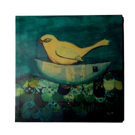 Obraz ptáček na lodi