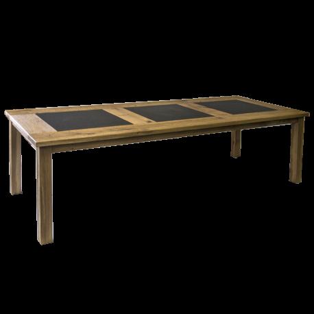 Jídelní stůl, Drásaný dub, 3x kámen žula