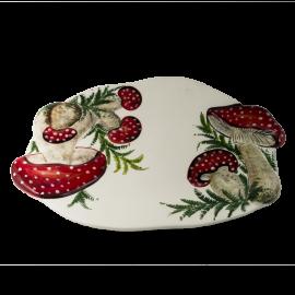 Houby oválný talíř malý