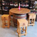 Barový stolek sud + stoličky